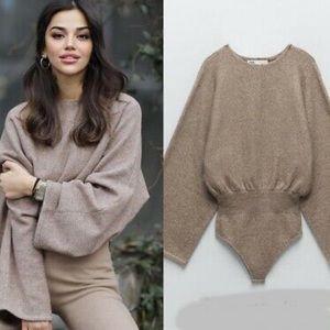 Zara Textured Knit Bodysuit